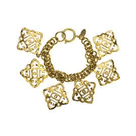 Chanel Gold Tone CC Vintage Regency Bracelet