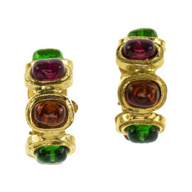 Pre-Owned Chanel Vintage Gripoix Hoop Earrings