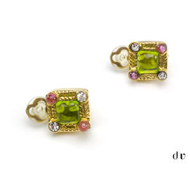 Chanel Square Gripoix Clip On Earrings