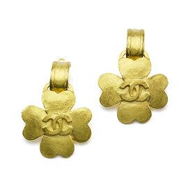 Chanel Gold Clover Logo Earrings