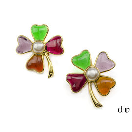 Chanel Four Leaf Clover Gripoix Earrings