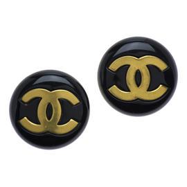 Chanel Oversized Black Round Earrings