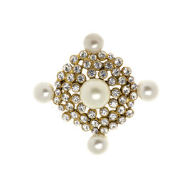 Chanel Goldtone and Faux Pearl Vintage Brooch