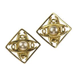 Chanel CC Logo Pearl Diamond Earrings