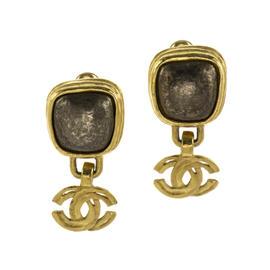 Chanel 97A CC Logo Brown Stone Earrings
