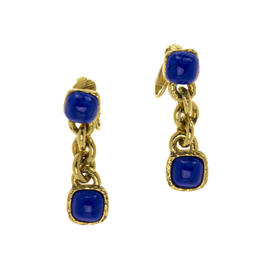 Chanel Gold Blue Stone Earrings