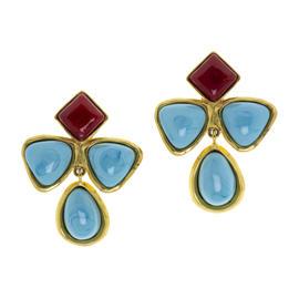 Chanel Blue Red Gripoix Earrings