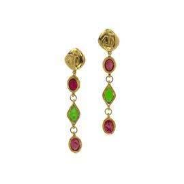 Chanel Gripoix Mademoiselle Clip On Dangle Earrings