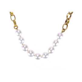 Chanel Gold Tone Metal Link Faux Pearl Necklace