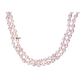 Chanel Light Pink Faux Pearl Double Strand Necklace