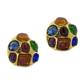 Chanel Gripoix Multi-Colored Clip On Earrings