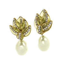 Chanel Floral Pearl Rhinestone Dangle Earrings