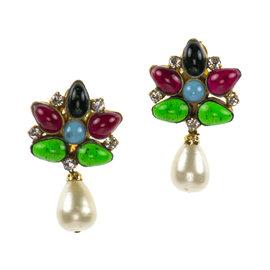 Chanel Gripoix Floral Faux Pearl Earrings