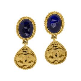 Chanel Blue Gripoix Dangle CC Earrings