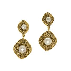 Chanel Gold Pearl Dangle Clip On Earrings