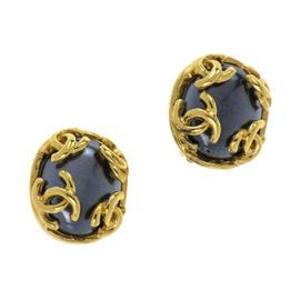 Chanel 95A Blue CC Logo Earrings