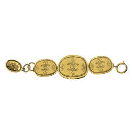 Chanel Gold Tone CC Vintage Crown Bracelet