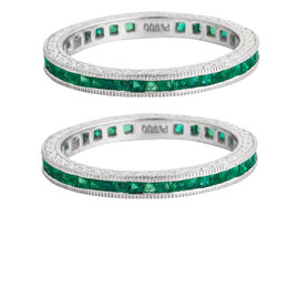 Set of two Platinum with Emerald wedding bands