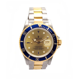 Rolex Submariner 16613 18K Yellow Gold and Stainless Steel Original Diamond Serti Dial Mens Watch