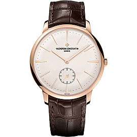 Vacheron Constantin 18K Rose Gold & Leather with Silver Dial 42mm Mens Watch