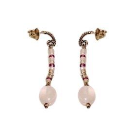 David Yurman Sterling Silver and 18K Gold Rose Quartz with Citrine Diamond Earrings
