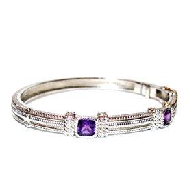 Judith Ripka Amethyst Sterling Silver Hinged Cuff Womens Bracelet