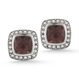 David Yurman 7mm Cushion Albion Pink Tourmaline and Diamond Earrings