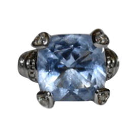 Judith Ripka Sterling Silver Blue Quartz Diamond Fontaine Ring