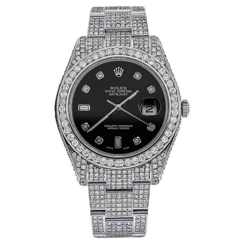 "Image of ""Rolex 116300 Datejust II Stainless Steel Black Diamond Dial Mens Watch"""
