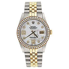 Rolex Datejust Two Tone Diamond Bezel & Mother Of Pearl Diamond Dial Men's Watch 36mm