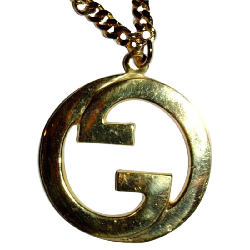 "Image of ""Gucci Large 18K Gold Plated Pendant Necklace"""