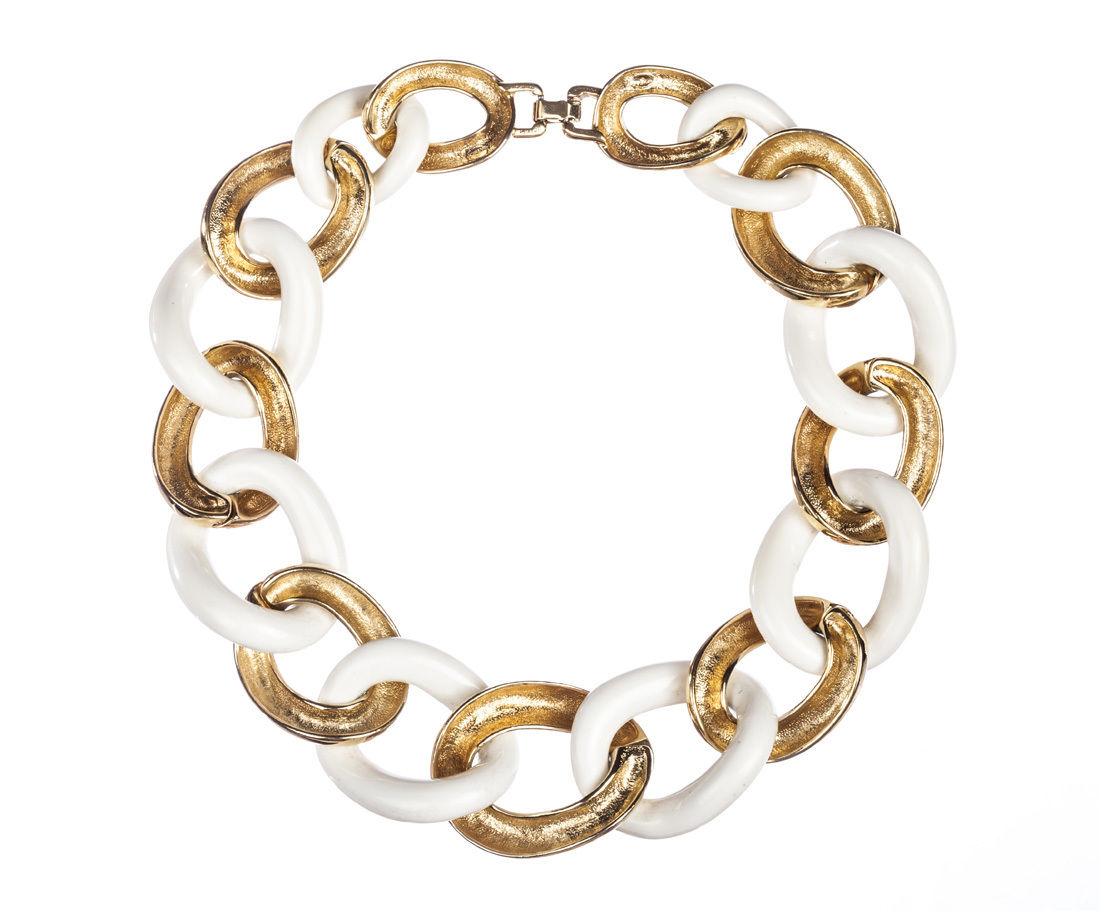 "Image of ""Givenchy Faux White Coral And Gold Chain Necklace"""