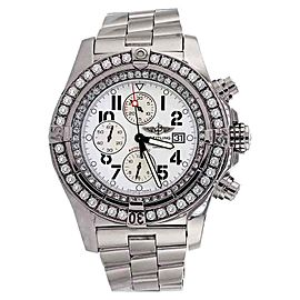 Breitling A13370 Super Avenger White Dial Diamond Watch