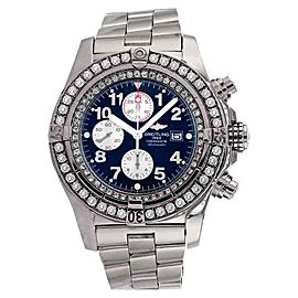 Breitling A13370 Super Avenger Blue Face Diamond Bezel Watch