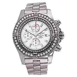 Breitling A13370 Super Avenger White Face Diamond Bezel Watch