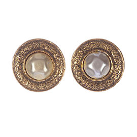 Chanel 18k Gold Plated Etched Faux Pearl Bubbled Earrings