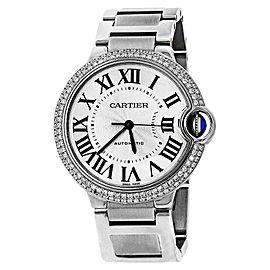 Cartier Ballon Bleu W6920046 Pave Diamond Bezel Automatic Mid-Size Watch