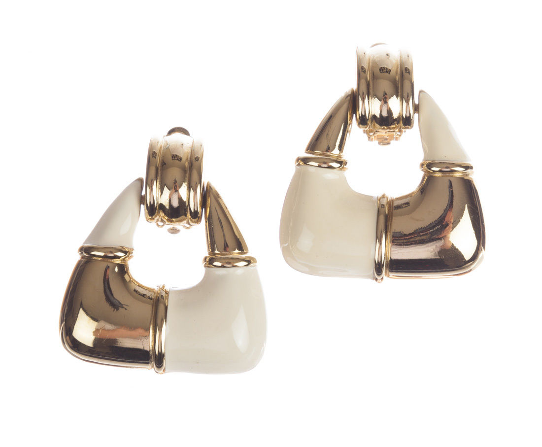 "Image of ""Givenchy Two Tone Dangle Hoop Earrings"""