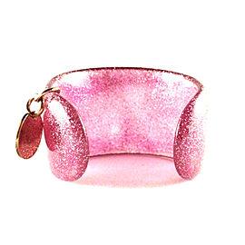 Gucci Glittered Pink Lucite Cuff Bracelet
