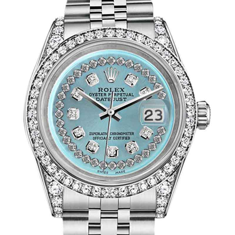 """Image of """"Rolex Datejust Stainless Steel Ice Blue String 36mm Diamond Dial Watch"""""""