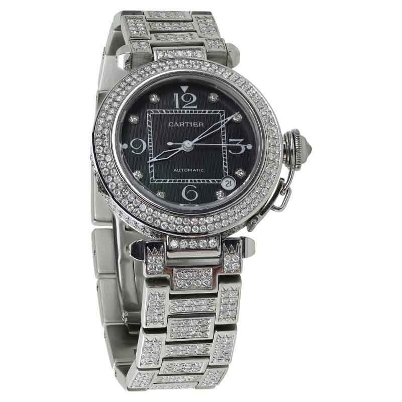 "Image of ""Cartier Pasha 15ct Diamonds Stainless Steel Watch"""