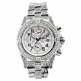 Breitling A13370 Super Avenger White 15ct Fully Covered Diamond Mens Watch