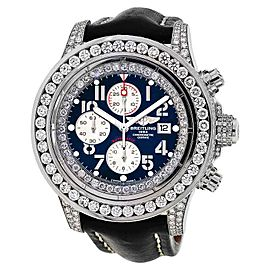 Breitling A13370 Super Avenger White 15ct Diamond Watch on Leather Strap Watch