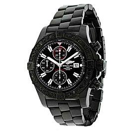 Breitling A13370 Super Avenger 4ct Black Diamond Bezel Black PVD Watch