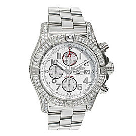 Breitling A13370 Super Avenger White Dial Diamond Mens Watch