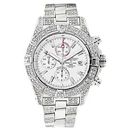 Breitling A13370 Super Avenger White Covered Over 12ct Diamond Watch