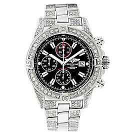 Breitling A13370 Super Avenger Black Covered Over 13ct Diamond Watch