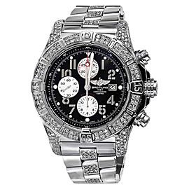Breitling A13370 Super Avenger Black Dial Watch 2 Row Diamond Bezel Watch