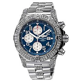 Breitling A13370 Super Avenger 2 Row Diamond Bezel Blue Dial Watch