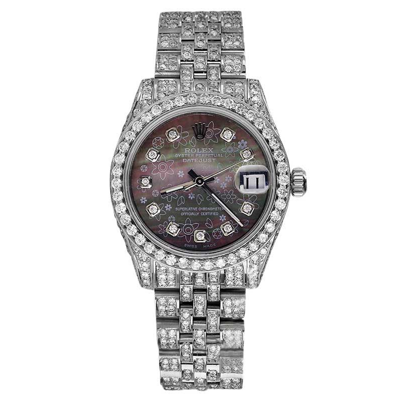"Image of ""Rolex Datejust Stainless Steel Black Flower MOP Diamond Ladies 26mm"""